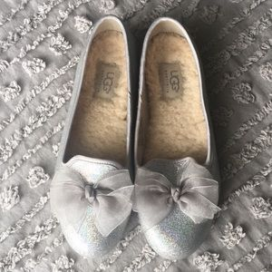 Girls UGG sparkly ballet flats with bow sz 3